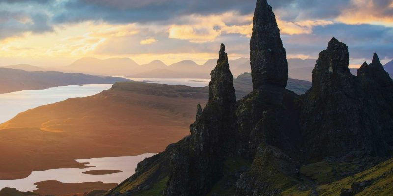 Old Mann of Storr Zonsopgang in Schotland met Galtic